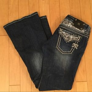 Miss Me Sequin White Stitch JE440F3L Flare Jeans